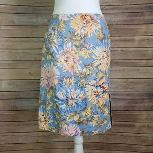 Talbots Skirt Floral Fitted Light Blue Zip